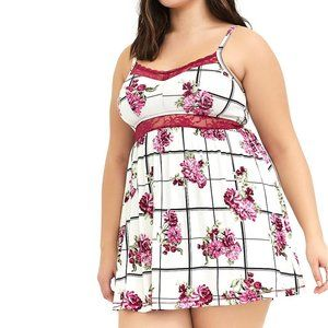 3X New Torrid White Floral Plaid Babydoll Chemise